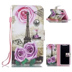 Rose Eiffel Tower Leather Wallet Phone Case for iPhone XS / X / 10 (5.8 inch)