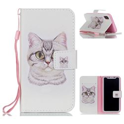 Lovely Cat Leather Wallet Phone Case for iPhone XS / X / 10 (5.8 inch)