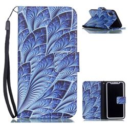 Blue Feather Leather Wallet Phone Case for iPhone XS / X / 10 (5.8 inch)
