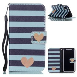 Blue Stripe Heart Leather Wallet Phone Case for iPhone XS / X / 10 (5.8 inch)