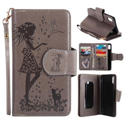 Embossing Cat Girl 9 Card Leather Wallet Case for iPhone XS / X / 10 (5.8 inch) - Gray