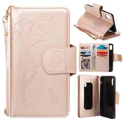 Embossing Cat Girl 9 Card Leather Wallet Case for iPhone XS / X / 10 (5.8 inch) - Gold