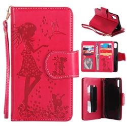 Embossing Cat Girl 9 Card Leather Wallet Case for iPhone XS / X / 10 (5.8 inch) - Red