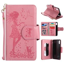 Embossing Cat Girl 9 Card Leather Wallet Case for iPhone XS / X / 10 (5.8 inch) - Pink