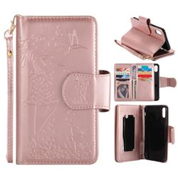Embossing Cat Girl 9 Card Leather Wallet Case for iPhone XS / X / 10 (5.8 inch) - Rose Gold