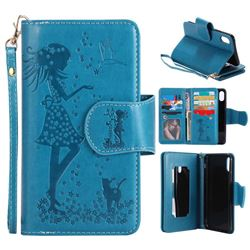 Embossing Cat Girl 9 Card Leather Wallet Case for iPhone XS / X / 10 (5.8 inch) - Blue