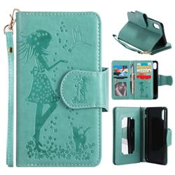 Embossing Cat Girl 9 Card Leather Wallet Case for iPhone XS / X / 10 (5.8 inch) - Green