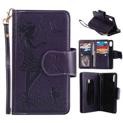 Embossing Cat Girl 9 Card Leather Wallet Case for iPhone XS / X / 10 (5.8 inch) - Purple