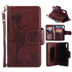 Embossing Cat Girl 9 Card Leather Wallet Case for iPhone XS / X / 10 (5.8 inch) - Brown