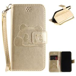 Embossing 3D Panda Leather Wallet Case for iPhone XS / X / 10 (5.8 inch) - Champagne