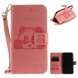 Embossing 3D Panda Leather Wallet Case for iPhone XS / X / 10 (5.8 inch) - Pink