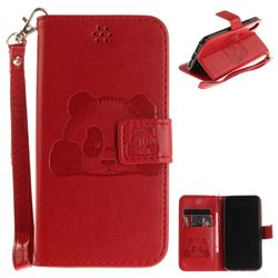 Embossing 3D Panda Leather Wallet Case for iPhone XS / X / 10 (5.8 inch) - Red