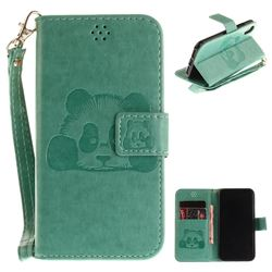 Embossing 3D Panda Leather Wallet Case for iPhone XS / X / 10 (5.8 inch) - Green