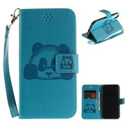 Embossing 3D Panda Leather Wallet Case for iPhone XS / X / 10 (5.8 inch) - Blue