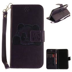 Embossing 3D Panda Leather Wallet Case for iPhone XS / X / 10 (5.8 inch) - Purple