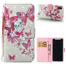 Heart Butterfly 3D Painted Leather Wallet Case for iPhone XS / X / 10 (5.8 inch)