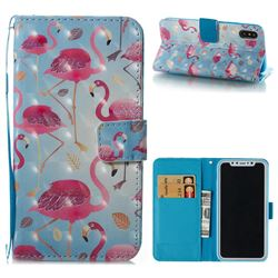 Foraging Flamingo 3D Painted Leather Wallet Case for iPhone XS / X / 10 (5.8 inch)
