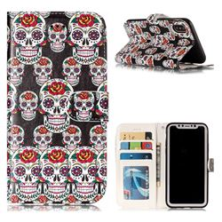 Flower Skull 3D Relief Oil PU Leather Wallet Case for iPhone XS / X / 10 (5.8 inch)