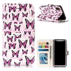 Butterflies Stickers 3D Relief Oil PU Leather Wallet Case for iPhone XS / X / 10 (5.8 inch)