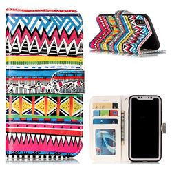 Tribal Pattern 3D Relief Oil PU Leather Wallet Case for iPhone XS / X / 10 (5.8 inch)