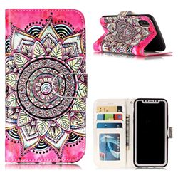 Rose Mandala 3D Relief Oil PU Leather Wallet Case for iPhone XS / X / 10 (5.8 inch)