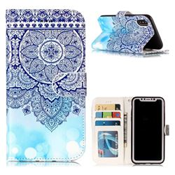 Totem Flower 3D Relief Oil PU Leather Wallet Case for iPhone XS / X / 10 (5.8 inch)