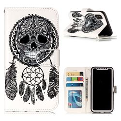 Wind Chimes Skull 3D Relief Oil PU Leather Wallet Case for iPhone XS / X / 10 (5.8 inch)