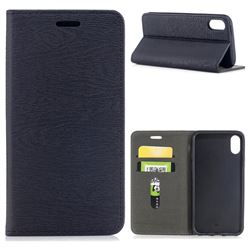 Tree Bark Pattern Automatic suction Leather Wallet Case for iPhone XS / X / 10 (5.8 inch) - Black