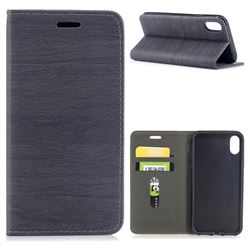 Tree Bark Pattern Automatic suction Leather Wallet Case for iPhone XS / X / 10 (5.8 inch) - Gray