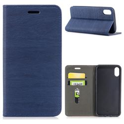 Tree Bark Pattern Automatic suction Leather Wallet Case for iPhone XS / X / 10 (5.8 inch) - Blue