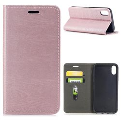 Tree Bark Pattern Automatic suction Leather Wallet Case for iPhone XS / X / 10 (5.8 inch) - Rose Gold