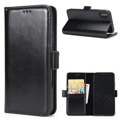Luxury Crazy Horse PU Leather Wallet Case for iPhone XS / X / 10 (5.8 inch) - Black