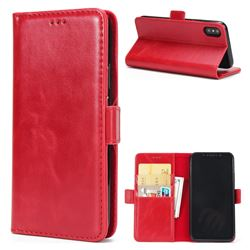 Luxury Crazy Horse PU Leather Wallet Case for iPhone XS / X / 10 (5.8 inch) - Red