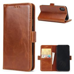 Luxury Crazy Horse PU Leather Wallet Case for iPhone XS / X / 10 (5.8 inch) - Brown