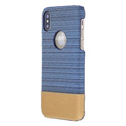 Canvas Cloth Coated Plastic Back Cover for iPhone XS / X / 10 (5.8 inch) - Light Blue
