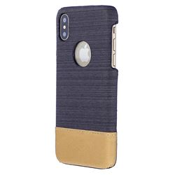 Canvas Cloth Coated Plastic Back Cover for iPhone XS / X / 10 (5.8 inch) - Black