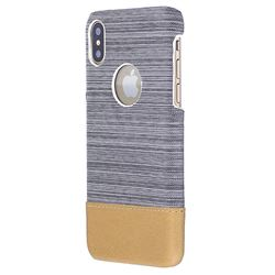 Canvas Cloth Coated Plastic Back Cover for iPhone XS / X / 10 (5.8 inch) - Light Grey