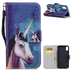 Blue Unicorn PU Leather Wallet Case for iPhone XS / X / 10 (5.8 inch)