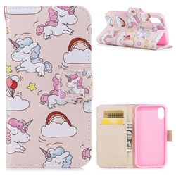 Rainbow Unicorn PU Leather Wallet Case for iPhone XS / X / 10 (5.8 inch)