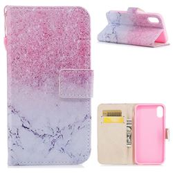 Marble Powder PU Leather Wallet Case for iPhone XS / X / 10 (5.8 inch)