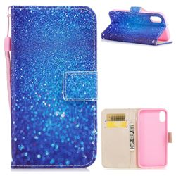 Blue Powder PU Leather Wallet Case for iPhone XS / X / 10 (5.8 inch)