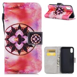 Red Mandala PU Leather Wallet Case for iPhone XS / X / 10 (5.8 inch)
