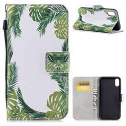 Green Leaves PU Leather Wallet Case for iPhone XS / X / 10 (5.8 inch)