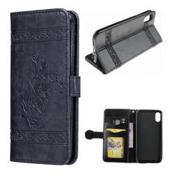 Luxury Retro Oil Wax Embossed PU Leather Wallet Case for iPhone XS / X / 10 (5.8 inch) - Black