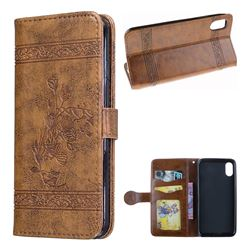 Luxury Retro Oil Wax Embossed PU Leather Wallet Case for iPhone XS / X / 10 (5.8 inch) - Brown