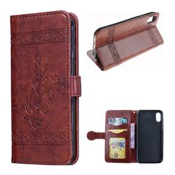 Luxury Retro Oil Wax Embossed PU Leather Wallet Case for iPhone XS / X / 10 (5.8 inch) - Burgundy