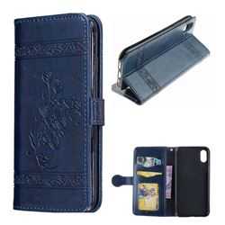 Luxury Retro Oil Wax Embossed PU Leather Wallet Case for iPhone XS / X / 10 (5.8 inch) - Navy Blue