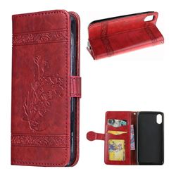 Luxury Retro Oil Wax Embossed PU Leather Wallet Case for iPhone XS / X / 10 (5.8 inch) - Red