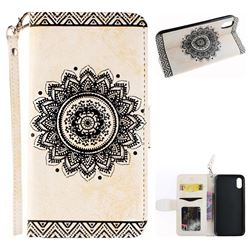 Embossed Datura Flower PU Leather Wallet Case for iPhone XS / X / 10 (5.8 inch) - White