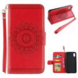 Embossed Datura Flower PU Leather Wallet Case for iPhone XS / X / 10 (5.8 inch) - Red